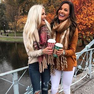 Large oversized blanket fringe Fall/winter scarf